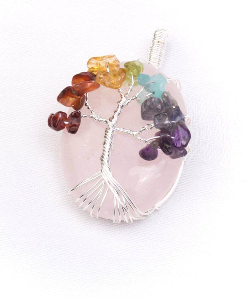 Chunky Crystal Tree of life Pendant Rose Quartz - MoodEssentialOils.co.uk