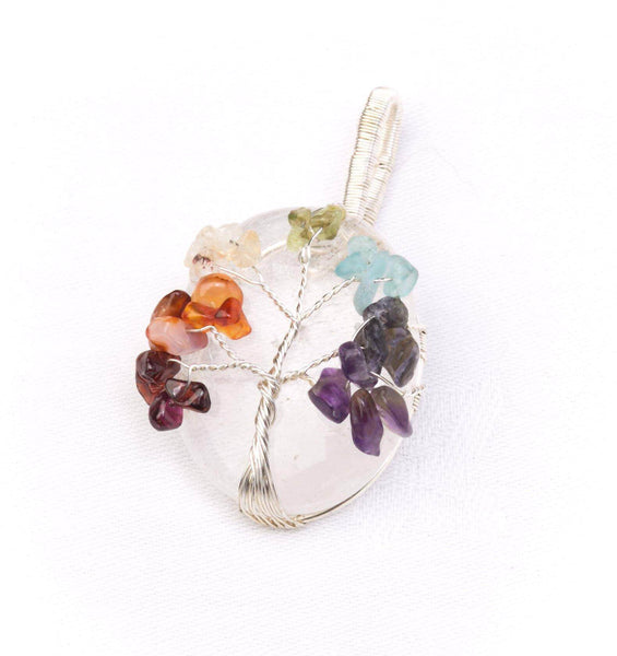 Chunky Crystal Tree of life Pendant Clear Quartz - Mood Essential Oils