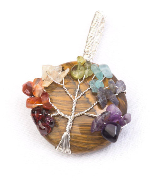 Chunky Crystal Tree of life Pendant Tigers Eye - Mood Essential Oils