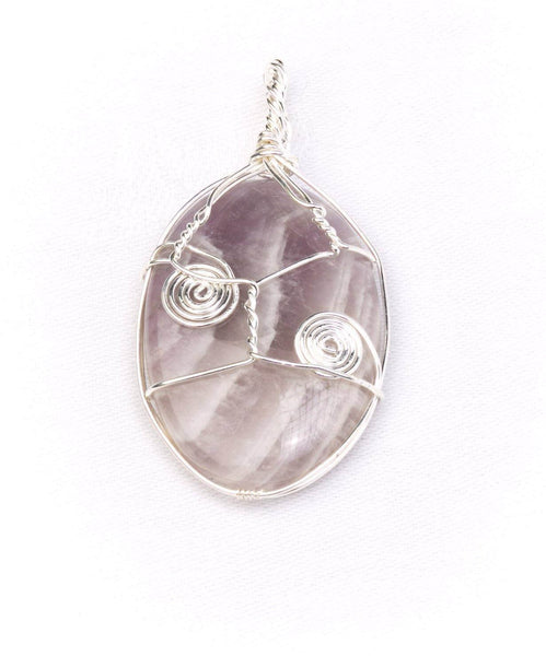 Crystal and silver detail Pendant Amethyst - Mood Essential Oils