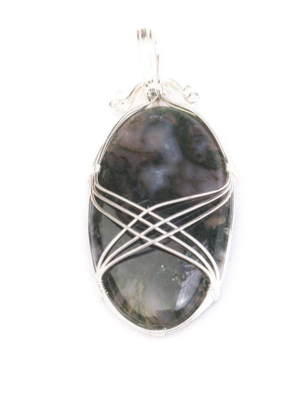 Crystal and silver detail Pendant Fluorite - Mood Essential Oils