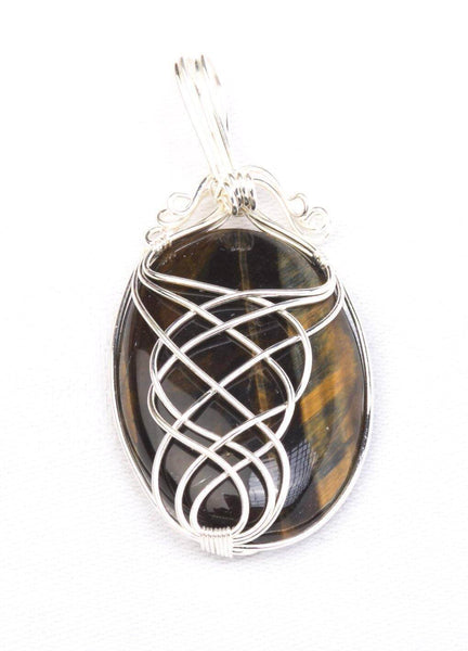 Crystal and silver detail Pendant Tigers eye - MoodEssentialOils.co.uk