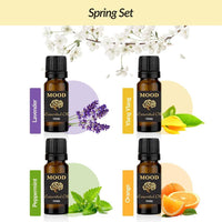 Spring Essential Oil Set Lavender, Ylang Ylang, Peppermint and Orange - Mood Essential Oils