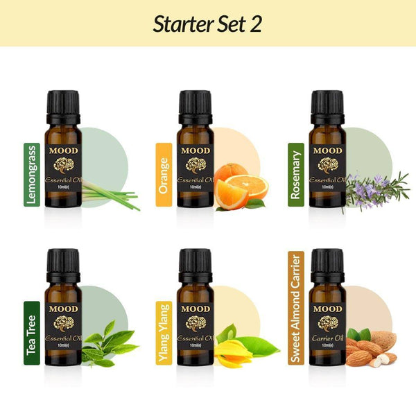 Essential Oil Starter Set 2 6 x 10ml Bottles Essential Oils Aromatherapy - Mood Essential Oils