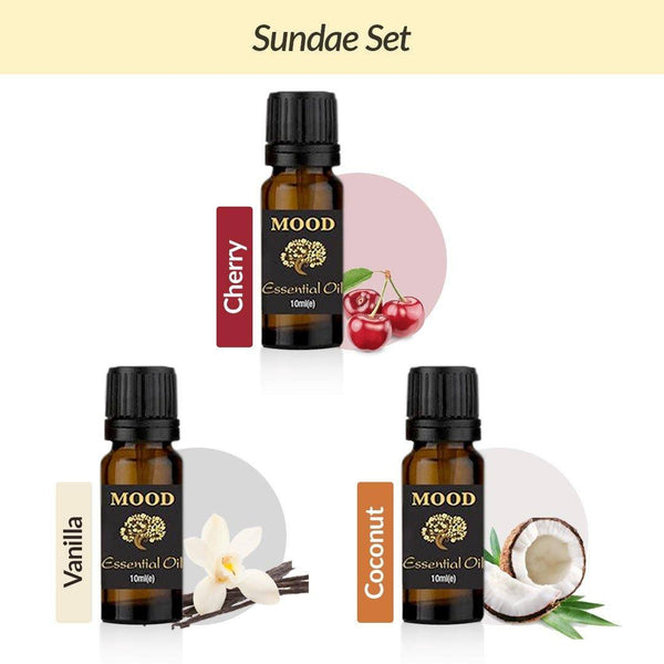 Sundae Essential Oil Set Cherry, Vanilla, Coconut - Mood Essential Oils