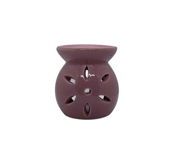 Ceramic Petal Cut Out Tea Light Oil Burner Pink - MoodEssentialOils.co.uk