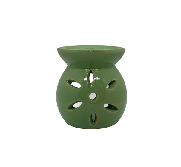 Ceramic Petal Cut Out Tea Light Oil Burner Green - MoodEssentialOils.co.uk