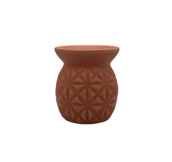Ceramic Tea Light Oil Burner with Embossed Triangle Pattern Terracotta - Mood Essential Oils