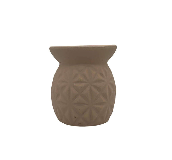 Ceramic Tea Light Oil Burner with Embossed Triangle Pattern Cream - Mood Essential Oils