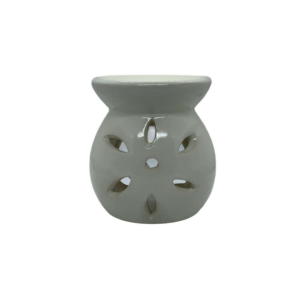 Ceramic Petal Cut Out Tea Light Oil Burner Light Cream - MoodEssentialOils.co.uk