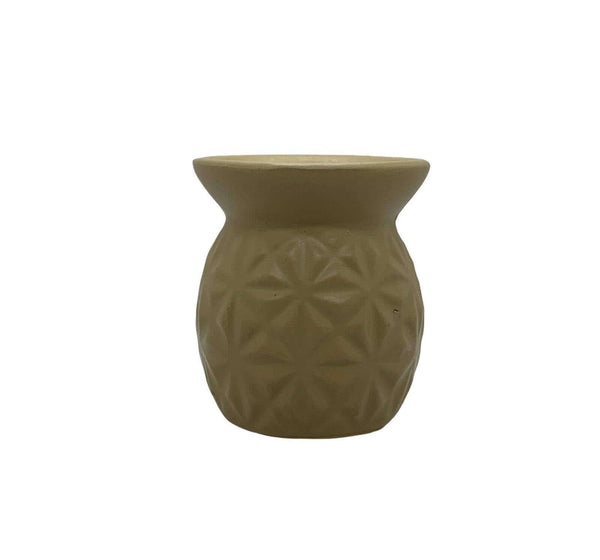 Ceramic Tea Light Oil Burner with Embossed Triangle Pattern Mustard - Mood Essential Oils