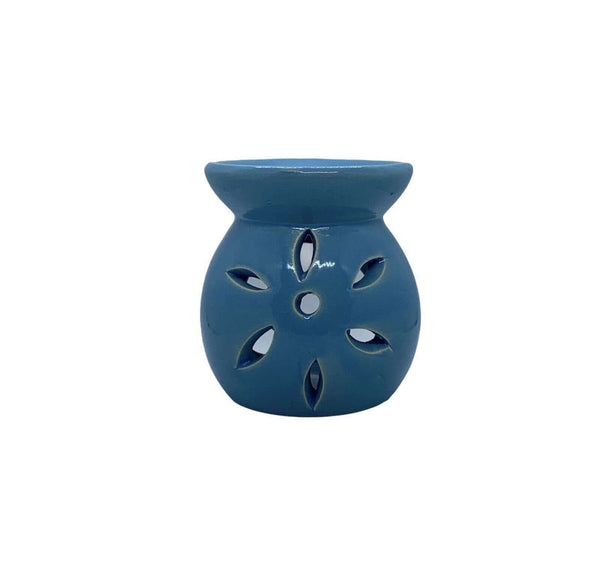 Ceramic Petal Cut Out Tea Light Oil Burner Blue - MoodEssentialOils.co.uk