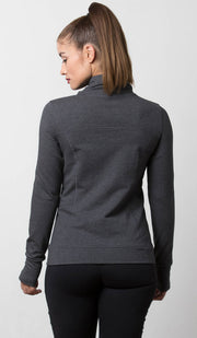 Dark Gray Aspen Sweater with cowl neck back view