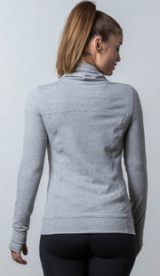 Light Gray Aspen Sweater with cowl neck back view