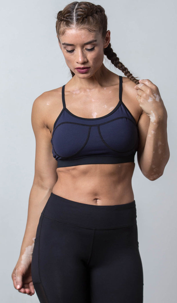 Cami Sports Bra navy on black front view