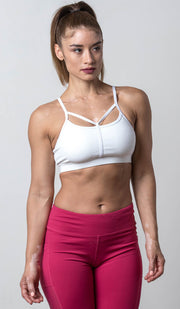 Chloe Sports Bra white front view