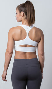 Emily Sports Bra white back view