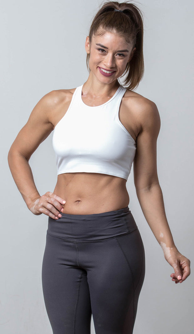 Emily Sports Bra white front view