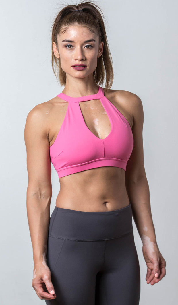 Lauren Halter Sports Bra pink front view