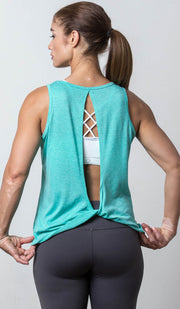Tallahassee Open-Back Tank teal back view