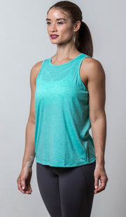 Tallahassee Open-Back Tank teal front view