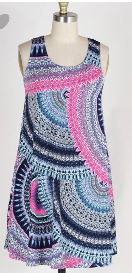 Swing Dress with pockets in Pink and Navy Swirl