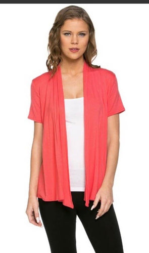 Short Sleeve Cardigan in Coral