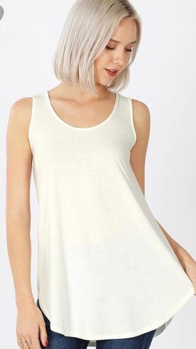 Round Bottom Tank Top in Ivory