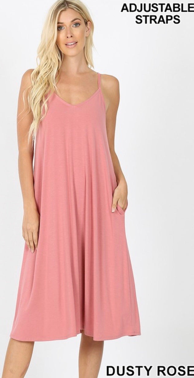Perfect Summer Midi Dress in Dusty Rose