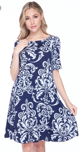 Swing Dress in Navy Damask