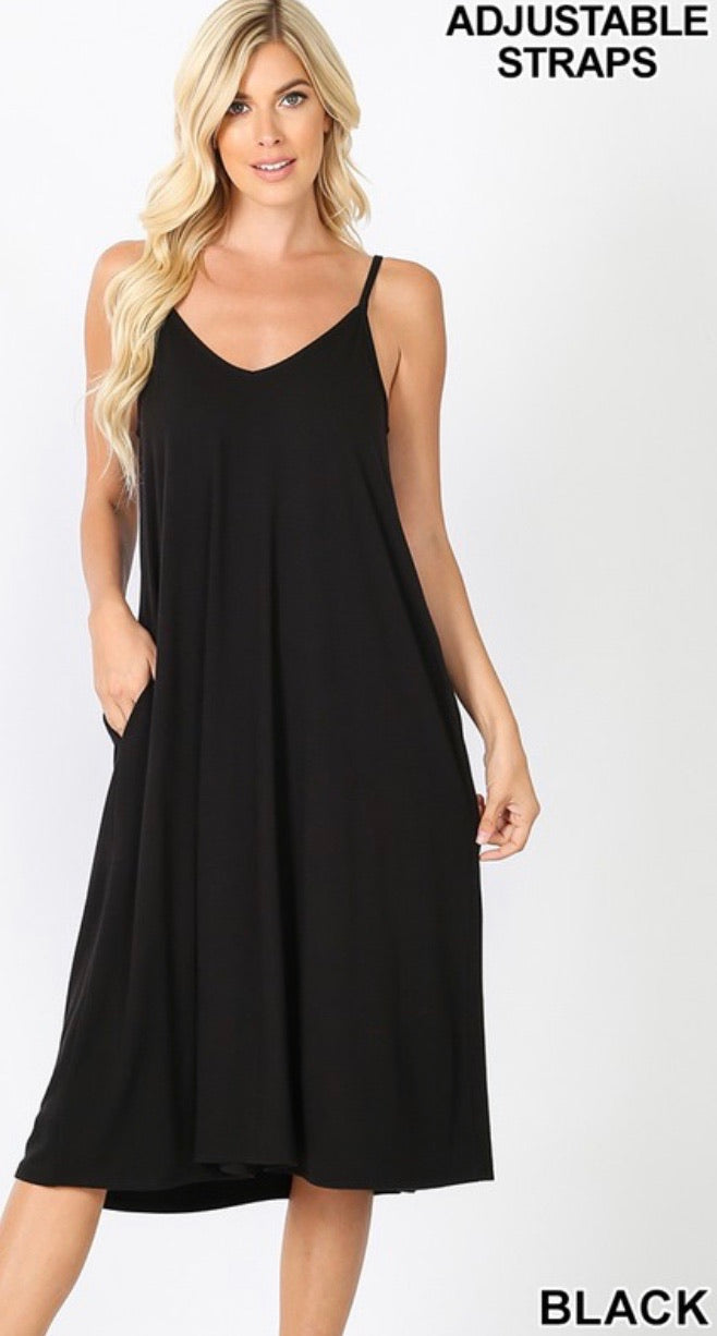 Perfect Summer Midi Dress in Black