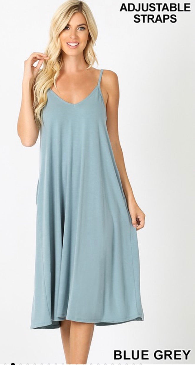 Perfect Summer Midi Dress in Blue Grey