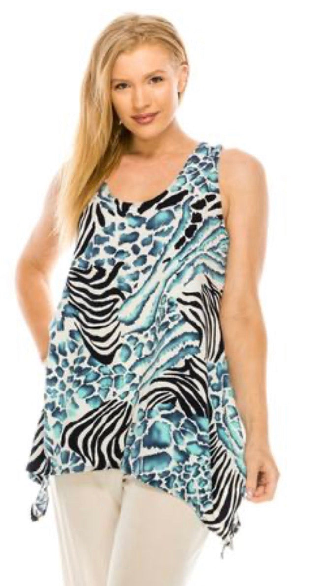 JS Tank Top in Mint Zebra