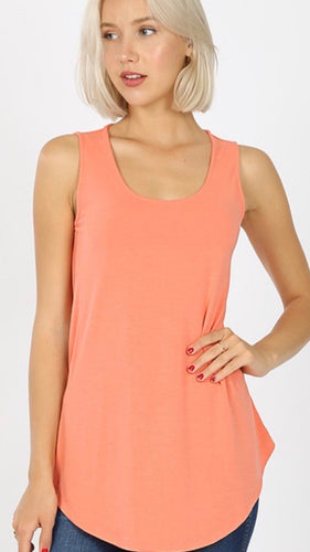 Round Bottom Tank Top in Coral