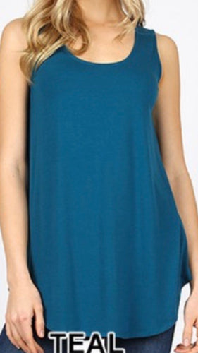 Round Bottom Tank Top in Teal
