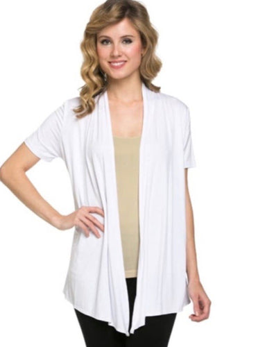 Short Sleeve Cardigan in Ivory