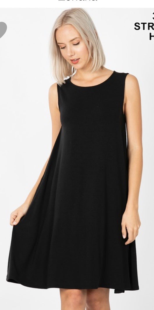 Tank Swing Dress with Pockets in Black