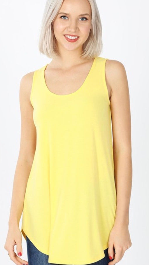 Round Bottom Tank Top in Yellow