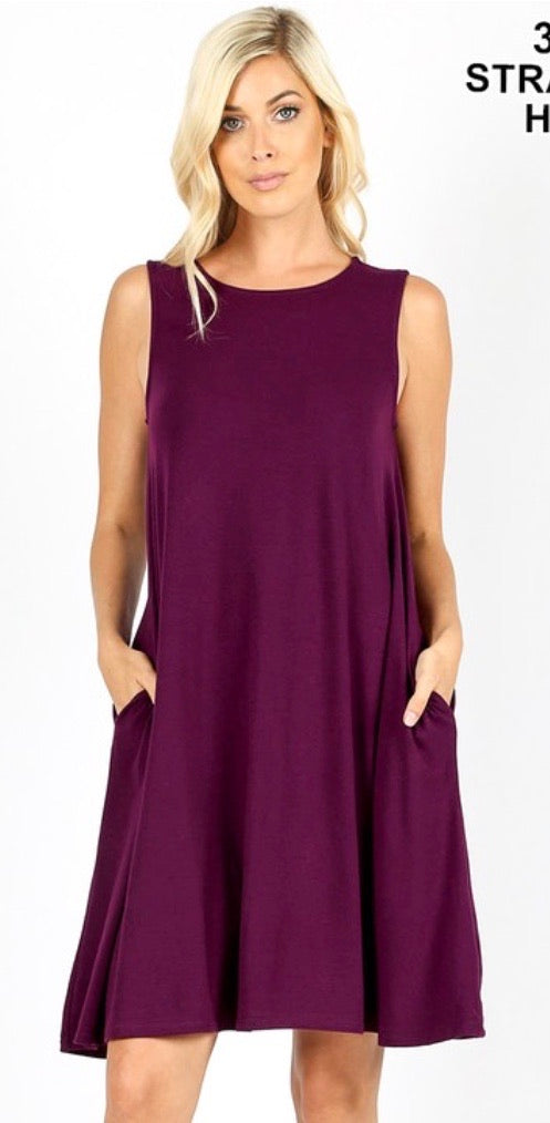 Tank Swing Dress with Pockets in Plum