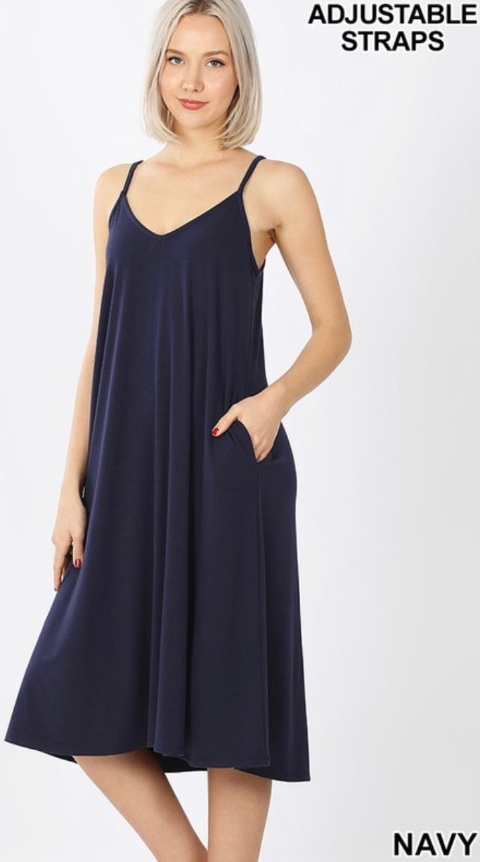 Perfect Summer Midi Dress in Navy