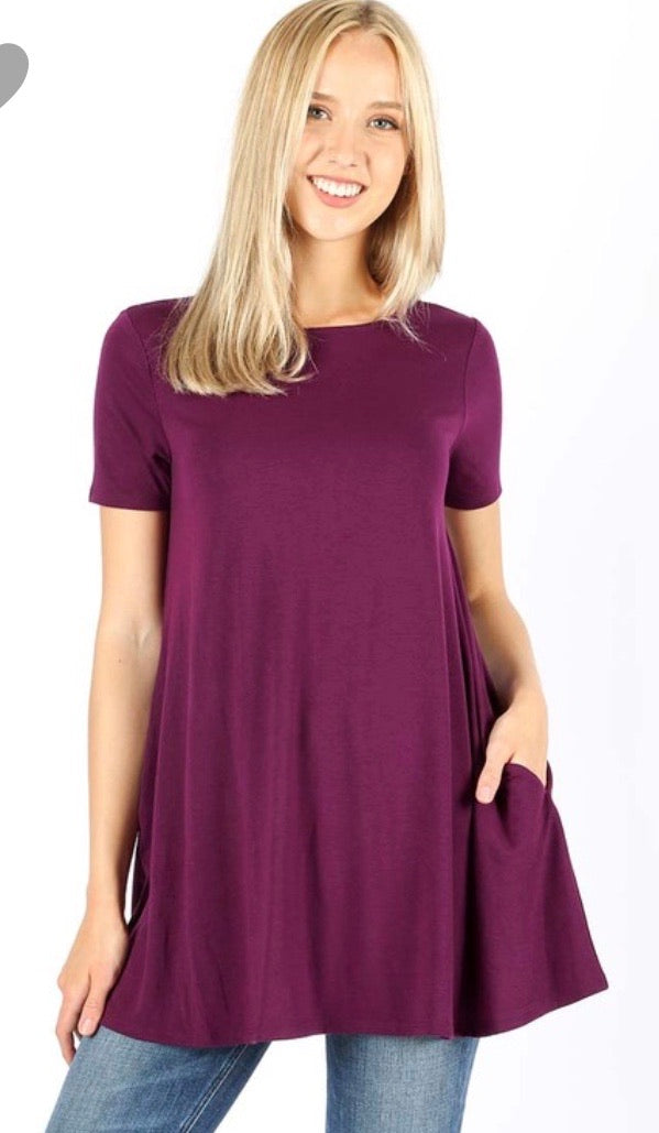 Swing T-Shirt with Pocket in Plum
