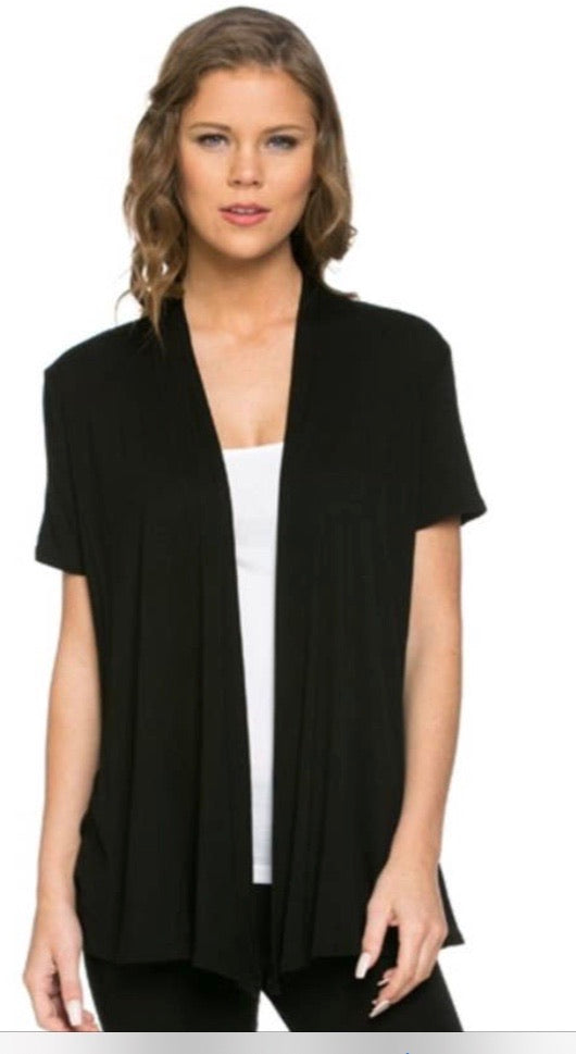 Short Sleeve Cardigan in Black