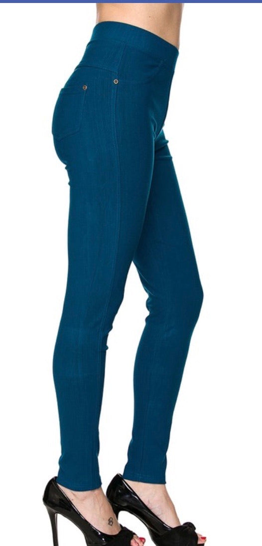 Jeggings in Ankle Length in Teal