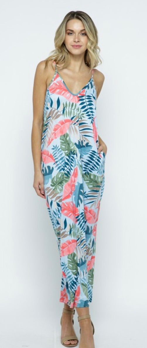 Maxi Pocket Dress in Tropical Print