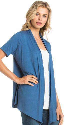Short Sleeve Cardigan in Indigo Blue