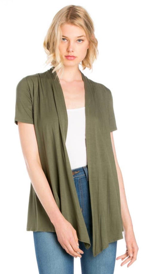 Short Sleeve Cardigan in Olive