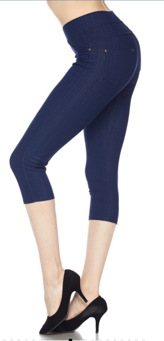 Jeggings in Capri Length in Blue