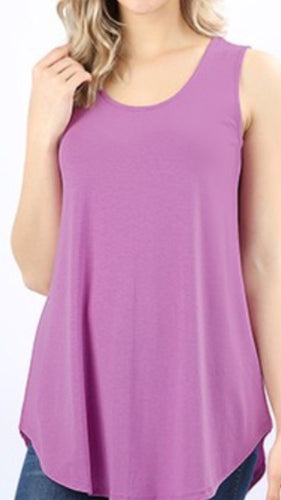 Round Bottom Tank Top in Mauve