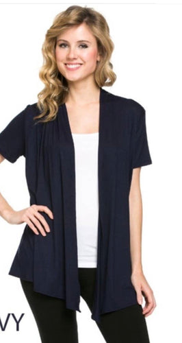 Short Sleeve Cardigan in Navy