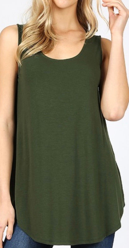 Round Bottom Tank Top in Olive